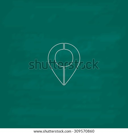 Mark pointer. Outline icon. Imitation draw with white chalk on green chalkboard. Flat Pictogram and School board background. Illustration symbol - stock photo