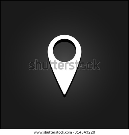 Mark, pointer. White flat simple icon illustration with shadow on a black background. Symbol for web and mobile applications for use as logo, pictogram, icon, infographic element - stock photo