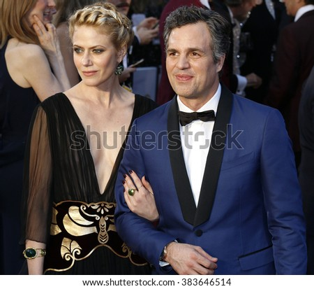 Mark Ruffalo and Sunrise Coigney at the 88th Annual Academy Awards held at the Hollywood & Highland Center in Hollywood, USA on February 28, 2016. - stock photo