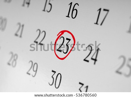 Mark the date number 23, focus point on the marked number.