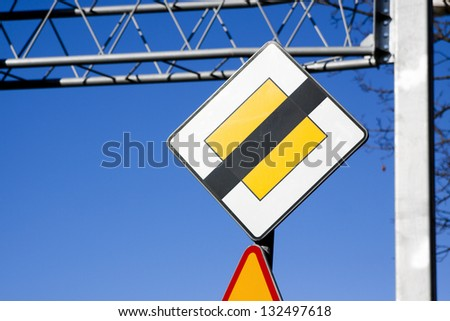 Mark the end of the road right of way - stock photo