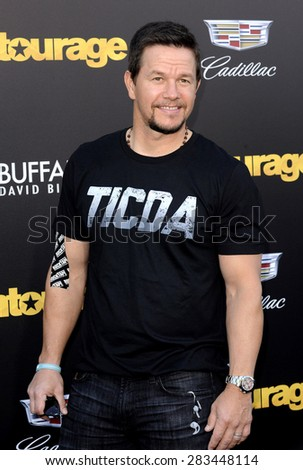 Mark Wahlberg at the Los Angeles premiere of 'Entourage' held at the Regency Village Theatre in Westwood on June 1, 2015.  - stock photo
