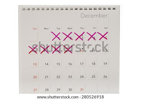 mark x on calendar isolated on white background - stock photo