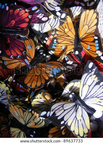 Marked in handmade cotton fabrics for clothing of various colors,animal butterfly