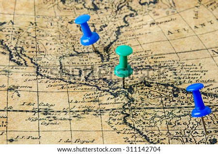 marked location on old map - stock photo