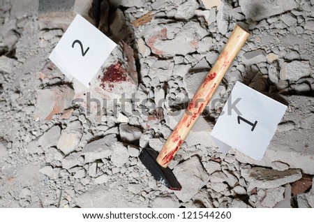 Marked  object  on a crime scene - stock photo