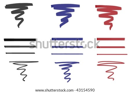 Marker ink stroke sample template in black blue and red. - stock photo