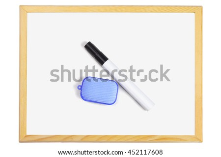 Marker Pen and Eraser Lying on Small White Board - stock photo