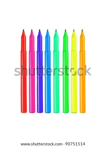 Marker pens isolated against a white background