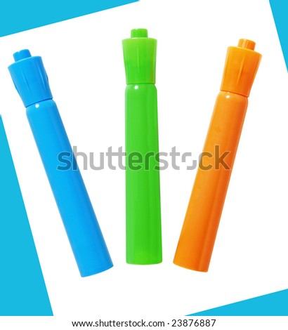 Markers on white background