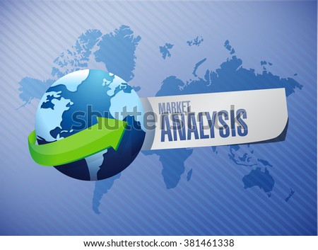 market analysis globe sign concept illustration design graphic