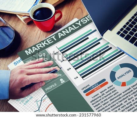 Market Analysis Strategy Office Working Concept - stock photo