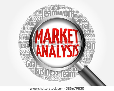 Market Analysis word cloud with magnifying glass, business concept - stock photo