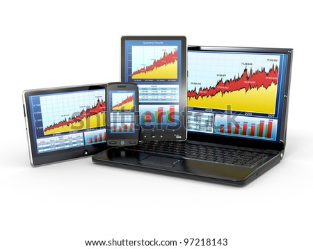 Market Analyze Chart on laptop, tablet pc and phone. 3d - stock photo