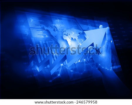 Market Analyzing, Business graph background	 - stock photo