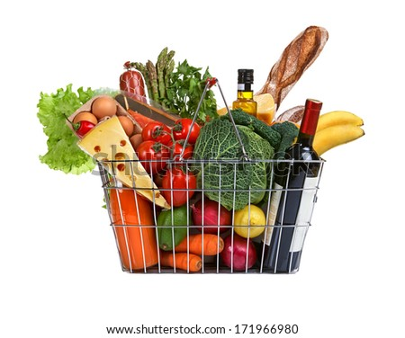 Market basket / studio photography of steel wire supermarket shopping carts basket with foodstuff - on white background  - stock photo