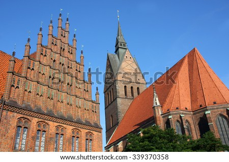 Market Church and Old Town Hall in Hannover, Germany - stock photo
