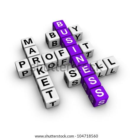 market crossword (blue-white cubes crossword series) - stock photo