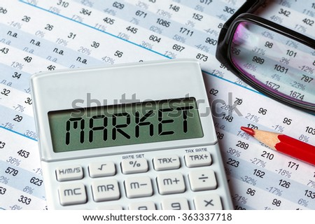 market displayed on calculator