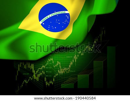 Market Financial Data with flag of Brazil, as an indicator of changes in the economy.   - stock photo