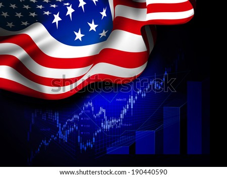 Market Financial Data with flag of USA, as an indicator of changes in the economy.   - stock photo