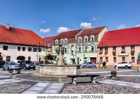 Market fountain in Ruhland - stock photo