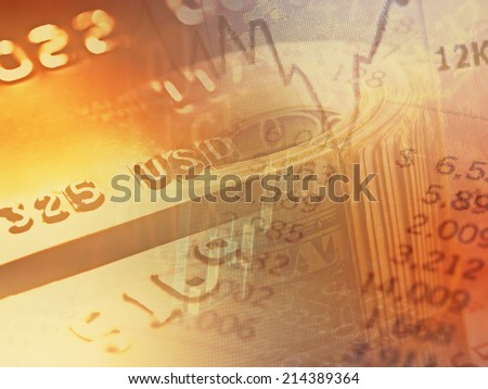 Market graph and rolled dollars. Finance concept.  - stock photo