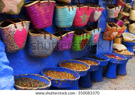 Market in Chefchaouen, Morocco, Africa - stock photo