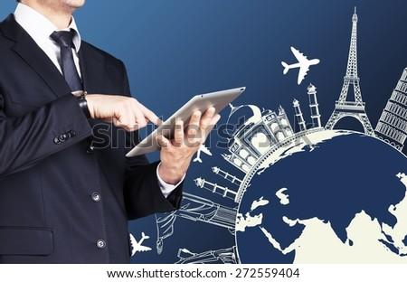 Market, marketing, tablet. - stock photo