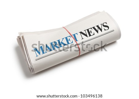Market News, Newspaper roll with white background