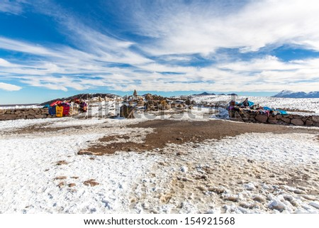 Market on Road Cusco-Puno near Lake Titicaca, Peru, South America. Colorful blanket, cap, scarf, cloth, ponchos from  wool of alpaca, llama - stock photo