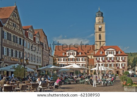 market place of spa town bad mergentheim germany stock. Black Bedroom Furniture Sets. Home Design Ideas