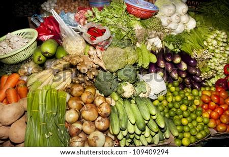 market produce cambodia local market siem reap - stock photo