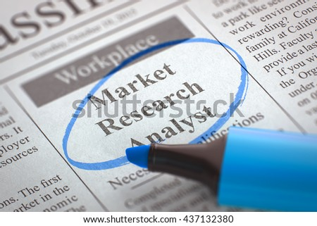 Market Research Analyst - Vacancy in Newspaper, Circled with a Blue Marker. Blurred Image. Selective focus. Concept of Recruitment. 3D Illustration.