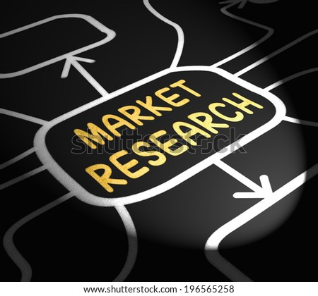 Market Research Arrows Showing Inquiring About Consumers Opinions - stock photo