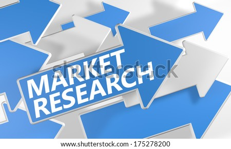 Market Research 3d render concept with blue and white arrows flying over a white background. - stock photo