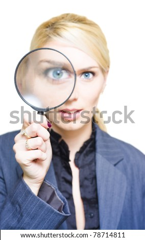 Market Research Sees The Eye Of A Cheerful Business Woman Peer Through The View Of A Magnifying Glass Lens In A Investigation Analysis And Company Survey Image