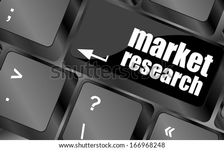 market research word button on keyboard, business concept - stock photo