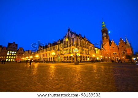 Market square and Town Hall at night. Wroclaw, Poland