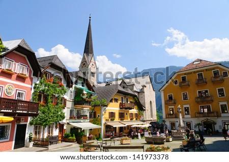 Market Square in Hallstatt, Austria - stock photo
