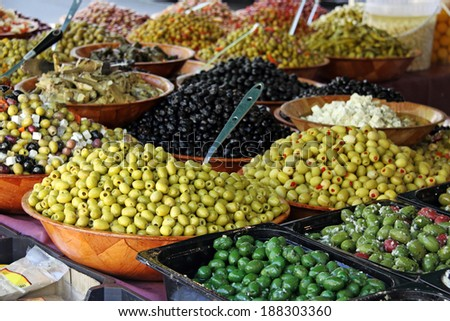 market stall selling olives and antipasti - stock photo