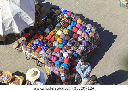 Market stall with hats on the market place in Marrakesh's medina in Morocco. 25-02-2015 - stock photo