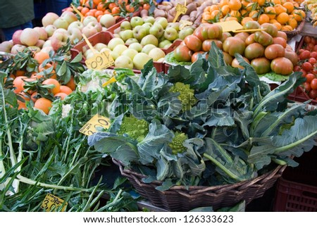 Market stall with vegetables and fruits
