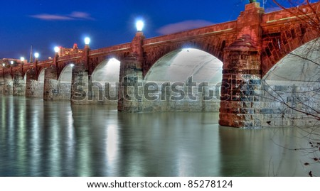 Market Street Bridge in Harrisburg, Pennsylvania. - stock photo
