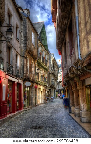 Market Street in the Old City of Vannes, Brittany - stock photo