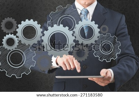 Market. Touch screen ,touch- tablet in hands - stock photo