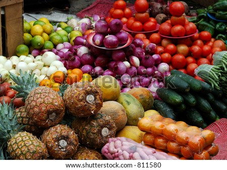 Market Vegetables and Fruit - stock photo