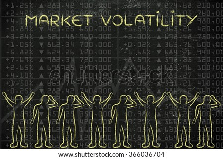 market volatility: group of traders with mixed feelings, happy or sad - stock photo
