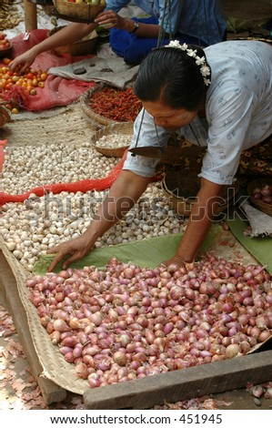Market woman selling onions and shallots in Burma (Myanmar)