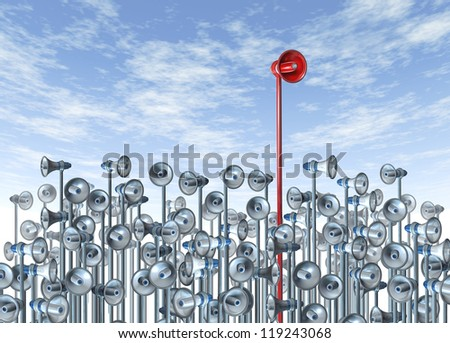 Marketing and advertising communications leader concept with a red bullhorn or megaphone rising above the rest of the group of competitors for business and financial sales. - stock photo